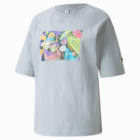 Camiseta estampada Downtown para mujer, Glacial Blue, pequeño