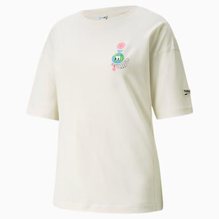 Camiseta estampada Downtown para mujer, Ivory Glow, pequeño