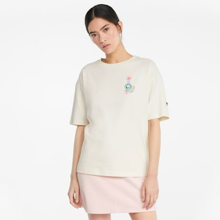 Downtown damesshirt met grafische print, Ivory Glow, small