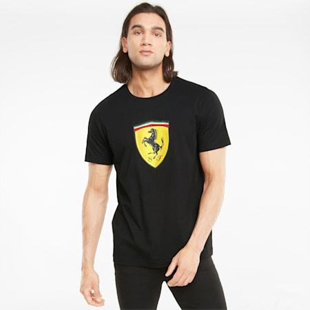 Camiseta Scuderia Ferrari Race con atractivo escudo en color para hombre, Puma Black, pequeño