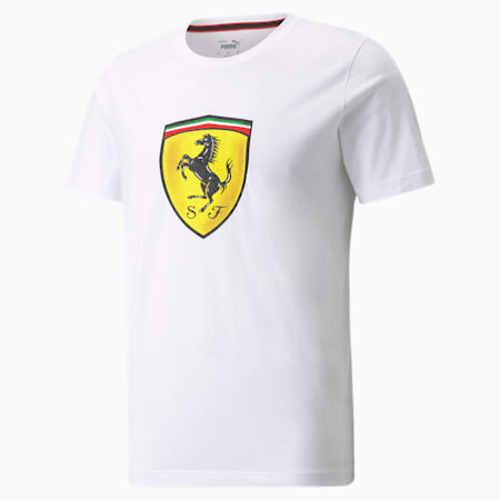 T-shirt à écusson de couleur audacieuse Scuderia Ferrari Race, homme, Blanc Puma, petit