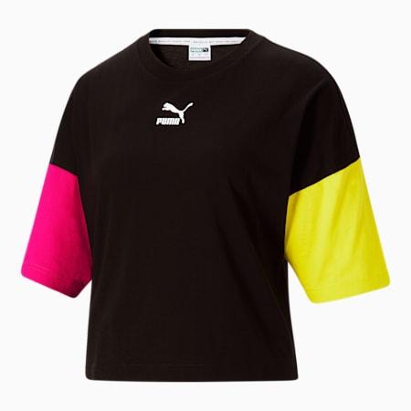 Camiseta holgadaCLSX para mujer, Cotton Black-City Lights, pequeño