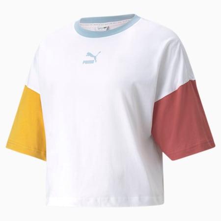 Camiseta holgadaCLSX para mujer, Puma White-BHeights, pequeño