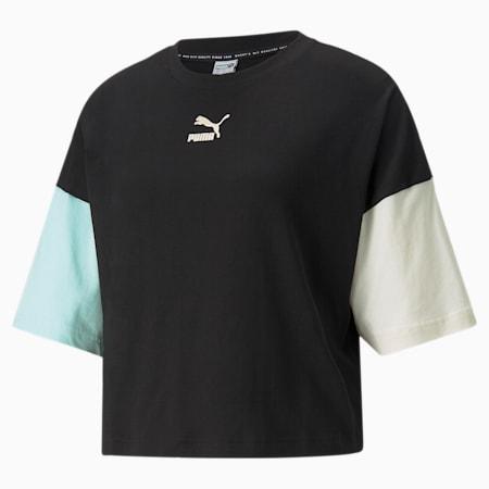 T-shirt in stile boyfriend CLSX donna, Puma Black-Gloaming, small