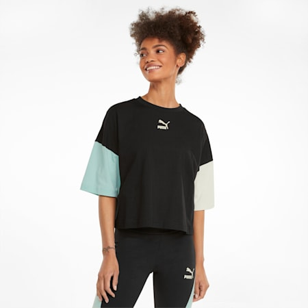 T-shirt coupe masculine CLSX, femme, Noir Puma-Crépuscule, petit