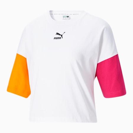 Camiseta holgadaCLSX para mujer, Puma White-City Lights, pequeño