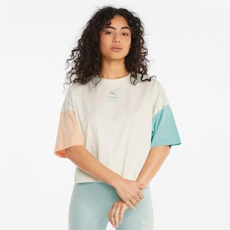 T-shirt coupe masculine CLSX, femme, Éclat ivoire-Crépuscule, petit