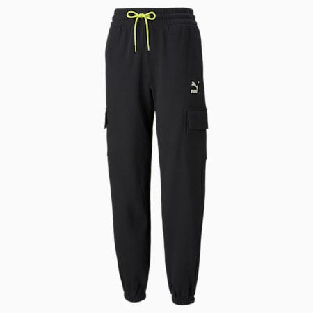 Pantalones deportivosCLSX Cargo para mujer, Puma Black-Ivory Glow, pequeño