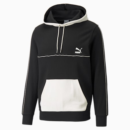 CLSX Piped Men's Hoodie, Puma Black-Ivory, small
