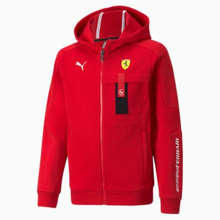 Scuderia Ferrari Race Hooded Youth Sweat Jacket, Rosso Corsa, small-SEA