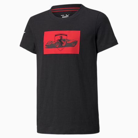 T-shirt à drapeau à damier Scuderia Ferrari Race, enfant, Puma Black, petit