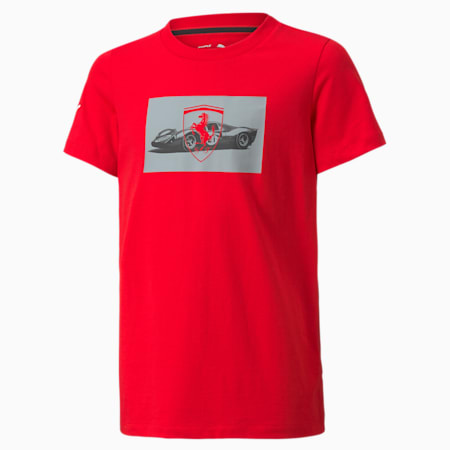 T-shirt à drapeau à damier Scuderia Ferrari Race, enfant, Rosso corsa, petit