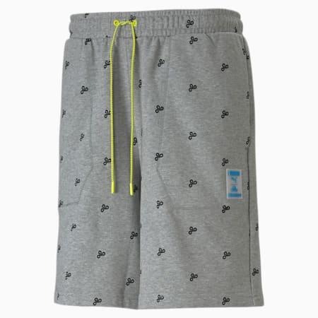 Shorts de e-sports estampados para hombre PUMA x CLOUD9 Zoned In, Medium Gray Heather-AOP, small