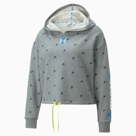PUMA x CLOUD9 Tilt Cropped Damen E-Sport-Hoodie mit Print, Medium Gray Heather, small
