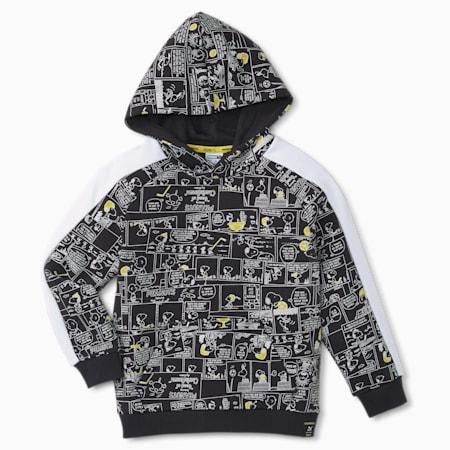 PUMA x PEANUTS Printed Kinder Hoodie, Puma Black, small