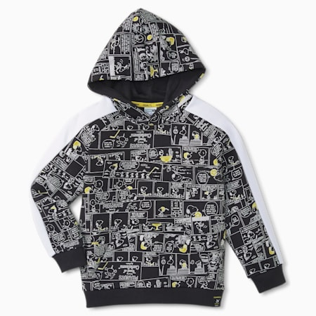 PUMA x PEANUTS Printed Kids' Hoodie, Puma Black, small-GBR