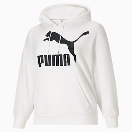 Sudadera con capucha y logo ClassicsPL para mujer, Puma White-Puma Black, pequeño