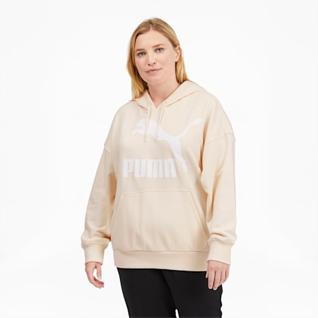 Sudadera con capucha y logo ClassicsPL para mujer, Eggnog-Puma White, pequeño