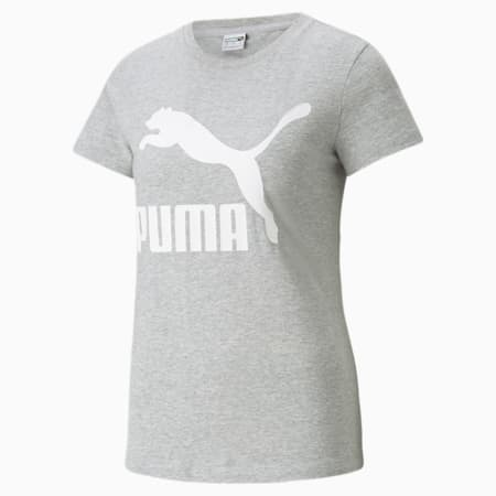 T-shirt à logo Classics, femme, Gris bruyère clair-Blanc Puma, petit