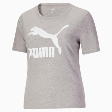 T-shirt PL à logo Classics, femme, Gris bruyère clair-Blanc Puma, petit