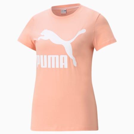 Camiseta Classics con logotipo para mujer, Apricot Blush-Puma White, pequeño