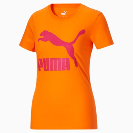 Camiseta Classics con logotipo para mujer, Orange Glow-City Lights, pequeño
