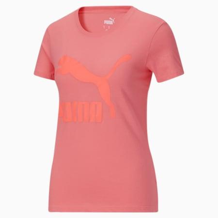 Camiseta Classics con logotipo para mujer, Sun Kissed Coral, pequeño