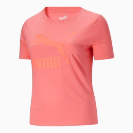 Camiseta con logo Classics PL para mujer, Sun Kissed Coral-Tonal, pequeño