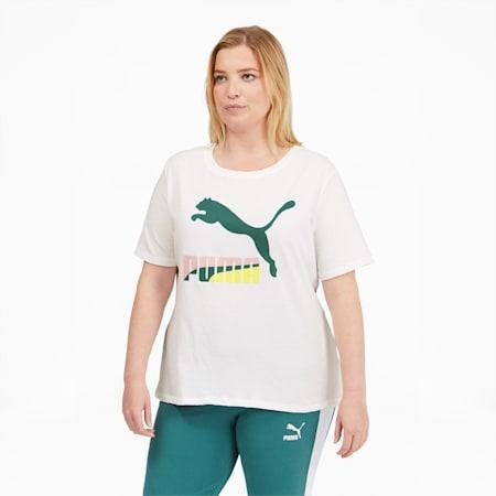 Camiseta con logo Classics PL para mujer, Puma White-Multi, pequeño
