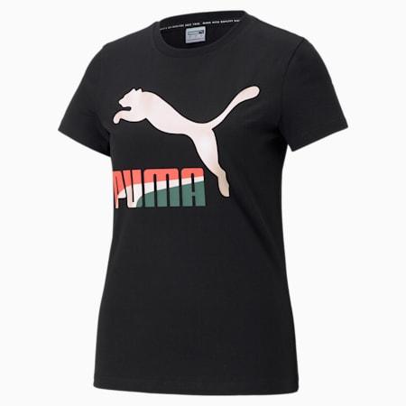 Camiseta con logo Classics PL para mujer, Puma Black-Multi, pequeño