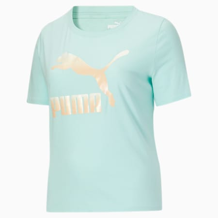 Camiseta con logo Classics PL para mujer, Eggshell Blue-Gloaming, pequeño