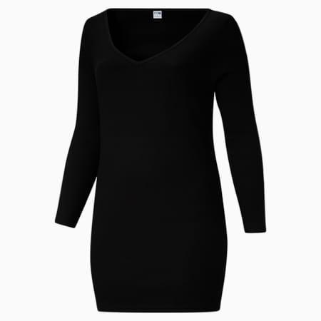 Vestido ajustado y acanalado ClassicsPL para mujer, Puma Black, pequeño