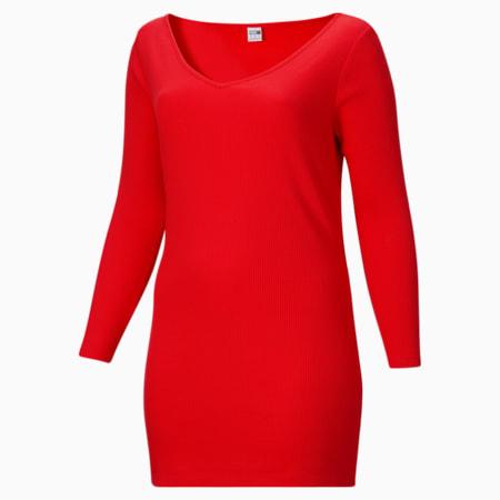 Vestido ajustado y acanalado ClassicsPL para mujer, Poppy Red, pequeño