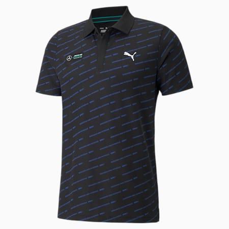 Camiseta tipo polo estampada Mercedes F1 para hombre, Puma Black, pequeño