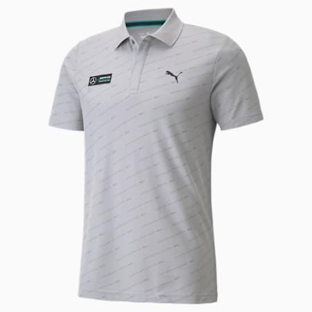 Camiseta tipo polo estampada Mercedes F1 para hombre, Mercedes Team Silver, pequeño