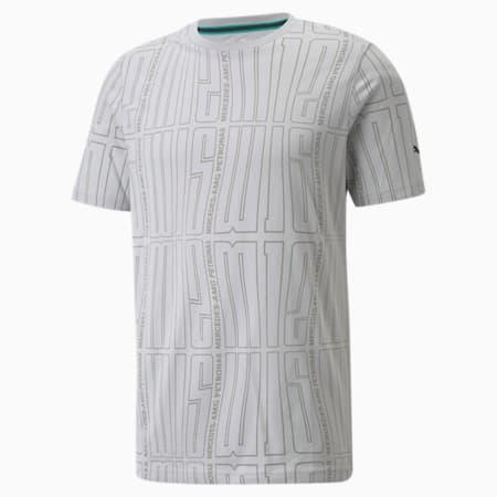 Camiseta estampada con logo Mercedes F1 para hombre, Mercedes Team Silver, pequeño