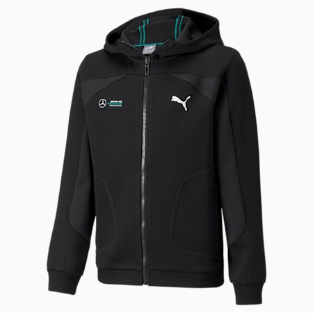 Mercedes F1 Hooded Youth  Sweat Jacket, Puma Black, small-GBR