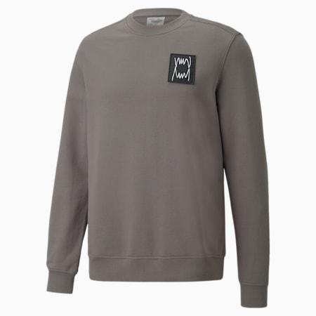 Pivot Special Men's Crewneck Sweatshirt, Charcoal Gray garment wash, small