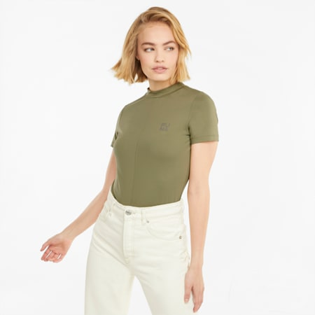 Infuse Women's Tee, Covert Green, small