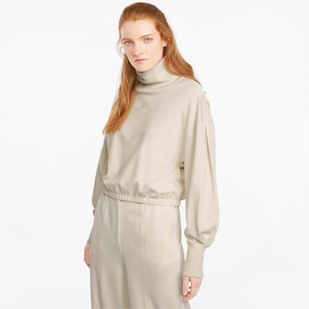 Infuse sweater met hoge col dames, Ivory Glow, small