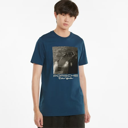 Porsche Legacy Statement T-shirt voor heren, Intense Blue, small
