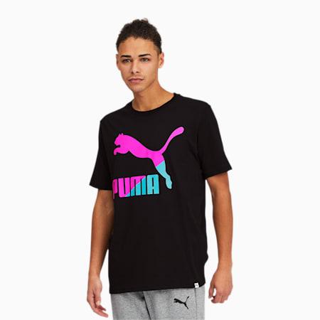 Classics Men's Logo Tee, Puma Black-Luminous Pink, small