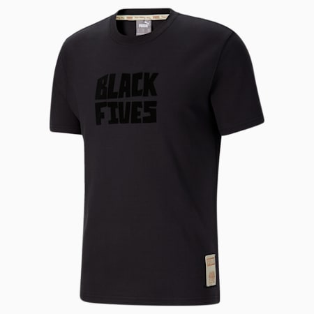 Black Fives Timeline Men's Basketball Tee, Phantom Black, small