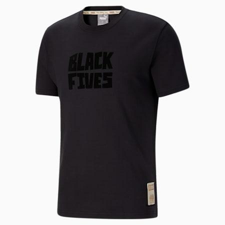 Black Fives Timeline Men's Basketball Tee, Phantom Black, small-GBR