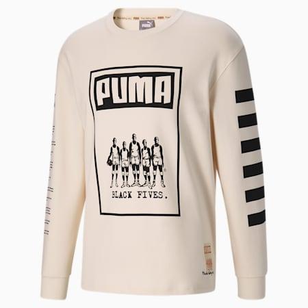 T-shirt de basket pour homme à manches longues Black Fives, no color, small
