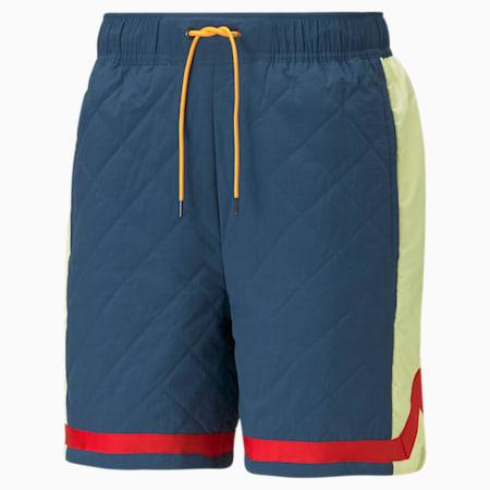 Shorts acolchados para básquetbol de punto para hombre, Intense Blue, pequeño