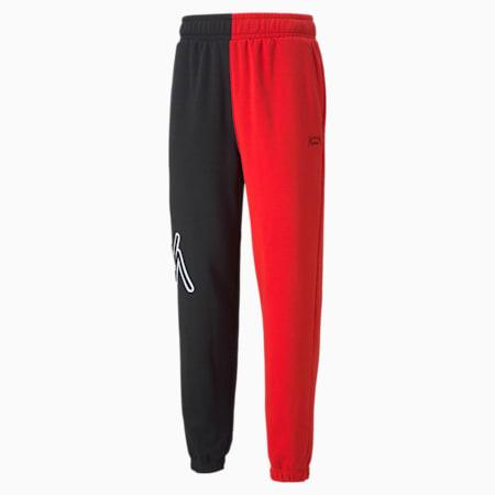 Pantalón para básquetbol Combine para hombre, Puma Black-High Risk Red, pequeño