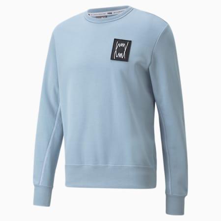 Camiseta de básquetbol Pivot con cuello redondo para hombre, Blue Fog, pequeño