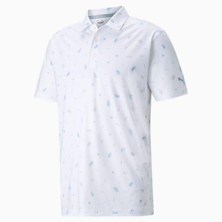 Camiseta tipo polo MATTR Snack Shack para hombre, Bright White-Placid Blue, pequeño