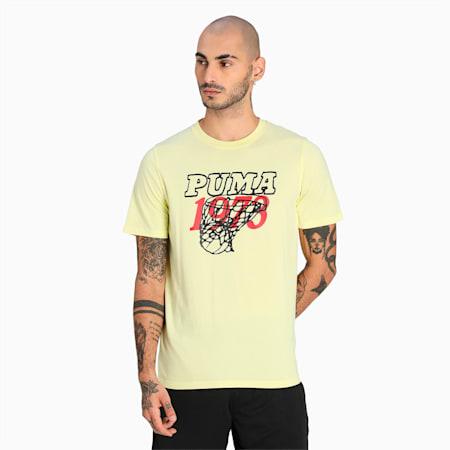 Camiseta de básquetbol Scouted para hombre, Yellow Pear, pequeño